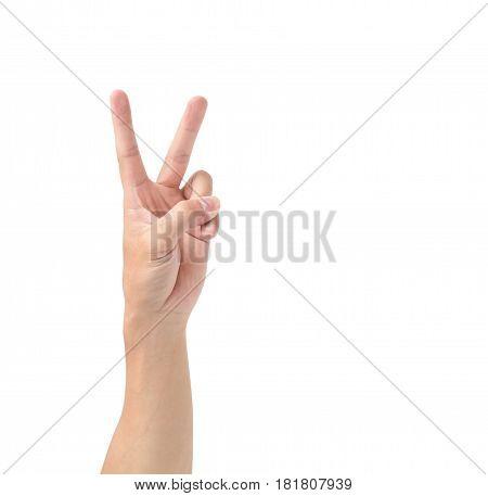Man hand V sign symbol isolated on white background