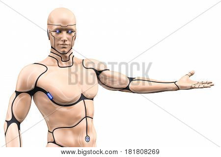 Man cyborg with outstretched hand on white background