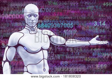 Man cyborg with outstretched hand on abstract background