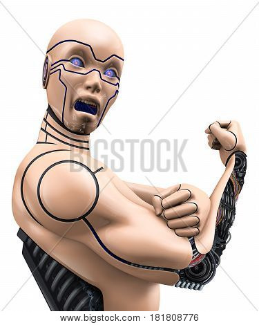 Portrait of cyborg girl isolated over white background