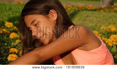 Teen Girl Stretching, Fitness and Healthy Lifestyle