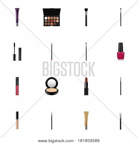 Realistic Blusher, Eye Paintbrush, Eyelashes Ink And Other Vector Elements. Set Of Maquillage Realistic Symbols Also Includes Varnish, Blusher, Ink Objects.