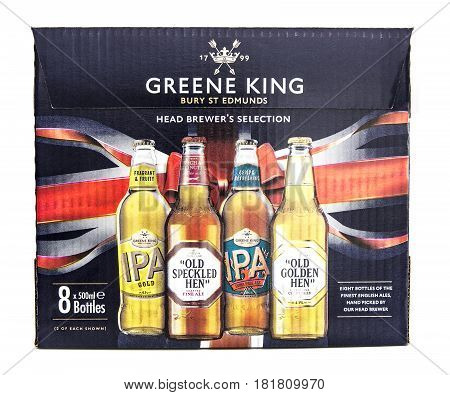 SWINDON UK - APRIL 06 2017: Box of Head Brewers Selection Beers from Greene King the box contains eight bottles of the finest English beers hand-picked by the head brewer.