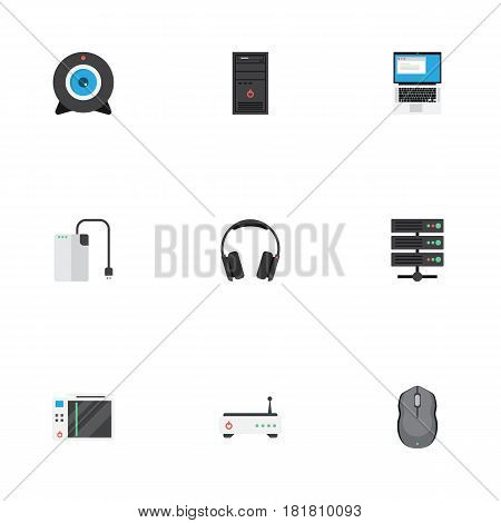 Flat Control Device, Storage Device, Laptop And Other Vector Elements. Set Of PC Flat Symbols Also Includes Notebook, Storage, Laptop Objects.