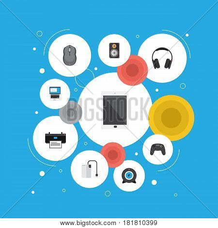 Flat Storage Device, Laptop, Web Cam And Other Vector Elements. Set Of PC Flat Symbols Also Includes Game, Web, Remote Objects.