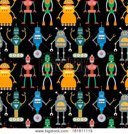 Seamless pattern of cute retro toy robots in flat style. EPS10 vector background of vintage robot characters.