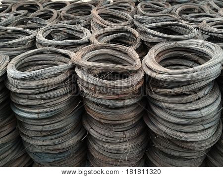 Detail pile of metal wire for background