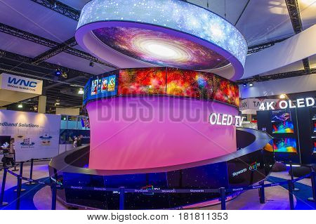 LAS VEGAS - JAN 08 : The Skyworth booth at the CES show held in Las Vegas on January 08 2017 CES is the world's leading consumer-electronics show.