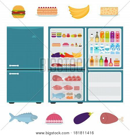 Closed and open fridge full of food in flat style. Refrigerator with hamburger, drinks, vegetables, fruit, meat, fish and cakes inside. Vector illustration.