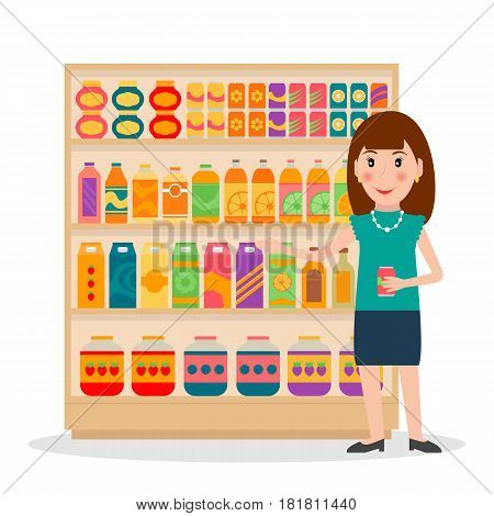 Groceries store shelves and female salesperson. EPS10 vector illustration in flat style.