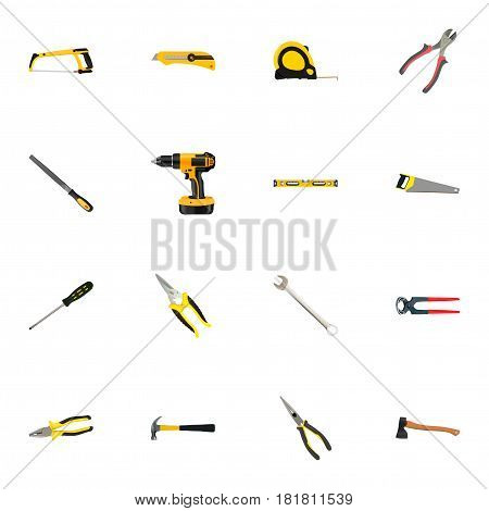 Realistic Claw, Utility Knife, Spanner And Other Vector Elements. Set Of Construction Realistic Symbols Also Includes Clippers, Emery, Roller Objects.