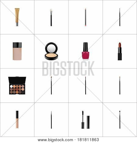 Realistic Cosmetic Stick, Brow Makeup Tool, Eyelashes Ink And Other Vector Elements. Set Of Greasepaint Realistic Symbols Also Includes Lips, Pomade, Nail Objects.