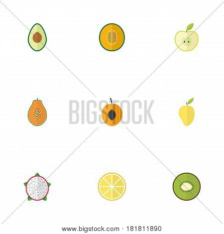 Flat Nectarine, Exotic Dessert, Jonagold And Other Vector Elements. Set Of Berry Flat Symbols Also Includes Apricot, Pitaya, Fruit Objects.