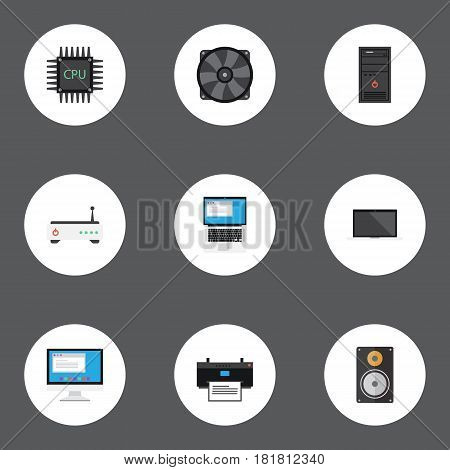 Flat Cooler, Amplifier, Display And Other Vector Elements. Set Of PC Flat Symbols Also Includes Screen, Unit, Fan Objects.