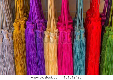 Yarn Tassels With Colorful For Decorate In Festival