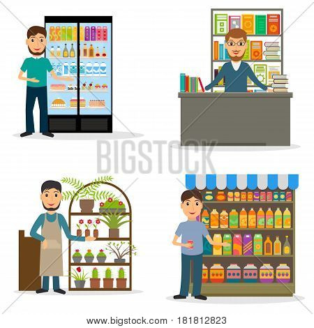 Seller at the counter set. Male salespersons of bookstore flowershop and groceries. EPS10 vector illustration in flat style.