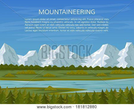 Pine forest mountains and river landscape. Mountaineering or travelling background hiking adventure concept. Climbing trekking outdoor vacation or extreme sports banner. EPS10 vector illustration.