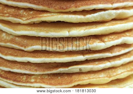 Closed up texture of plain pancakes stack, for background