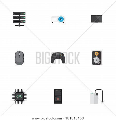 Flat Datacenter, Show, Notebook And Other Vector Elements. Set Of Notebook Flat Symbols Also Includes Mouse, Central, Peripheral Objects.