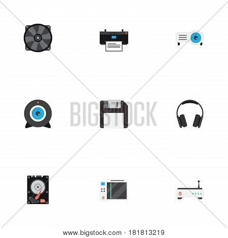 Flat Slot Machine, Earphones, Diskette And Other Vector Elements. Set Of Notebook Flat Symbols Also Includes Ventilator, Headphone, Fan Objects.