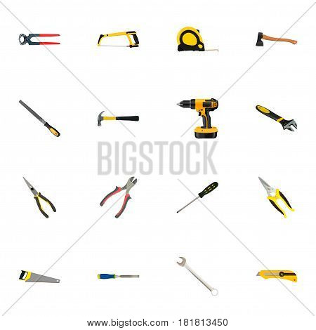 Realistic Utility Knife, Hatchet, Spanner And Other Vector Elements. Set Of Kit Realistic Symbols Also Includes Tape, Instrument, Cutter Objects.