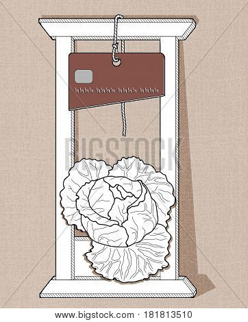 White guillotine with a knife in the form of a credit card cuts head of cabbage. Linear drawing on a textured background