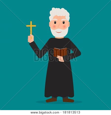 Pastor priest or evangelist with cross and bible. EPS10 vector illustration in flat style.