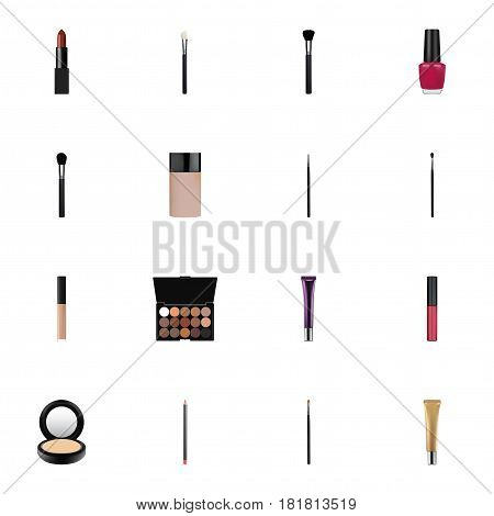 Realistic Brow Makeup Tool, Day Creme, Fashion Equipment And Other Vector Elements. Set Of Cosmetics Realistic Symbols Also Includes Brow, Stain, Blending Objects.
