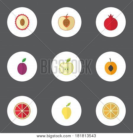 Flat Jonagold, Apricot, Nectarine And Other Vector Elements. Set Of Dessert Flat Symbols Also Includes Orange, Apricot, Grapefruit Objects.