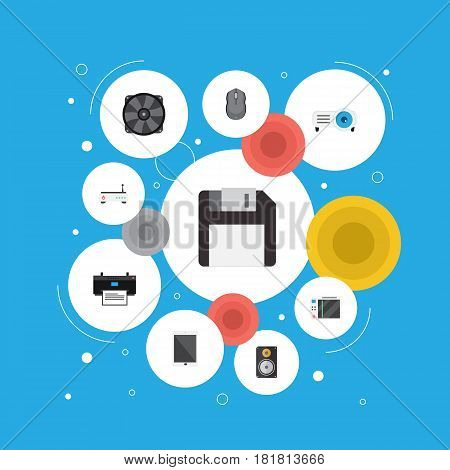 Flat Router, Cooler, Show And Other Vector Elements. Set Of PC Flat Symbols Also Includes Printing, Peripheral, Show Objects.