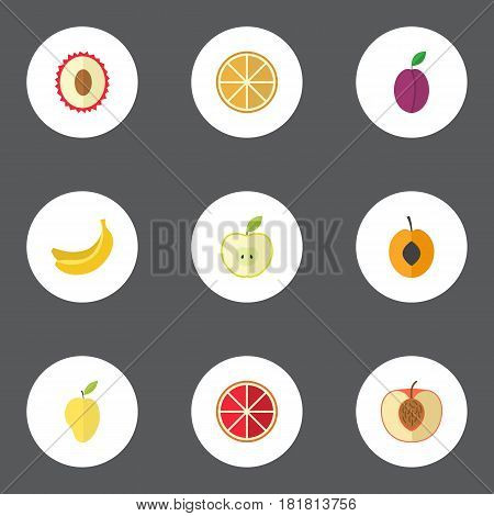 Flat Peach, Citrus, Apricot And Other Vector Elements. Set Of Fruit Flat Symbols Also Includes Tropical, Jonagold, Apricot Objects.