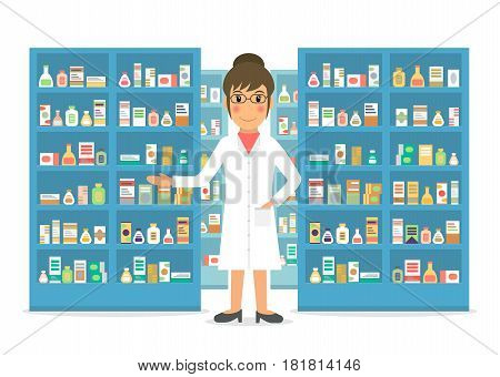 Smiling gesturing woman pharmacist at the counter against shelves with drugs and medicines. Drugstore female salesperson at work. Vector illustration in flat style.