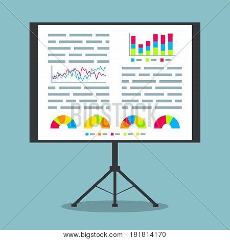 Presentation on projection screen with project data graphs and charts. EPS10 vector illustration in flat style.