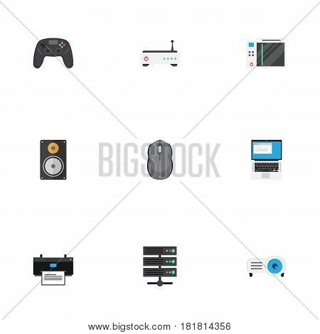 Flat Slot Machine, Show, Router And Other Vector Elements. Set Of Notebook Flat Symbols Also Includes Projector, Presentation, Amplifier Objects.