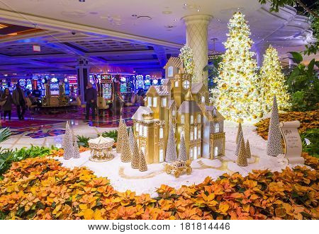 LAS VEGAS - JAN 08 : The interior of Wynn Hotel and casino on January 08 2017 in Las Vegas. The hotel has 2716 rooms and opened in 2005.