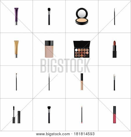 Realistic Day Creme, Blusher, Cosmetic Stick And Other Vector Elements. Set Of Cosmetics Realistic Symbols Also Includes Pencil, Pomade, Lipstick Objects.