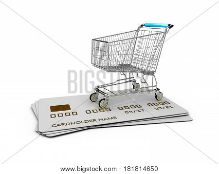 Empty Trolley On The Credit Cards. 3D Illustration Isolated White