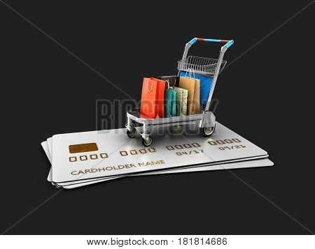Trolley on the credit cards with gift packages, 3d Illustration isolated Black