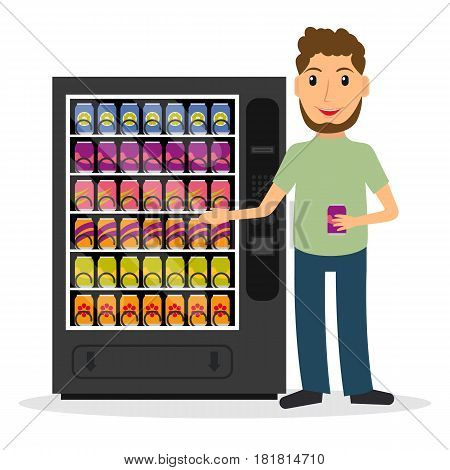 Vending machine with beverages drinks and a man. EPS10 vector illustration in flat style.