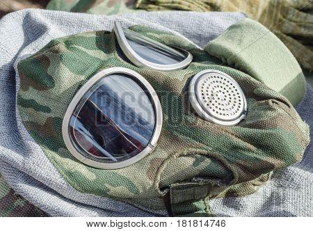 Military Gas Mask Closeup
