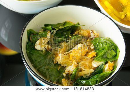 Stir Fried Vegetables.Thai food.(Liang vegetable fried eggs)