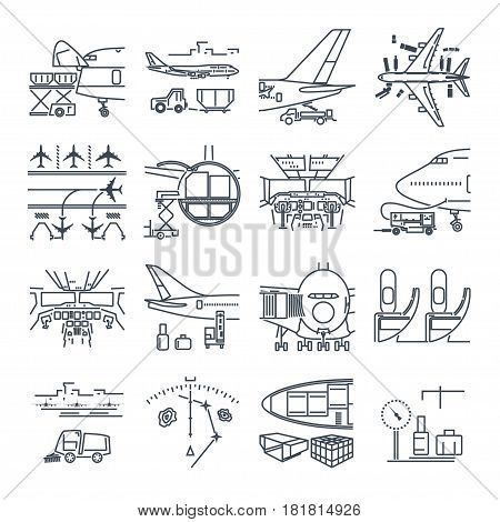set of thin line icons airport and airplane freight cargo aircraft