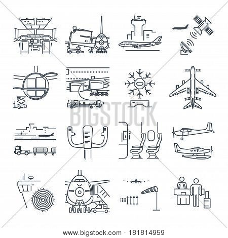 set of thin line icons airport and airplane control tower aircraft