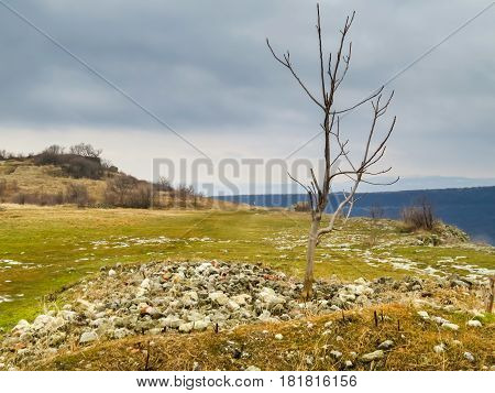 At mountain top near the ancient stone stronghold Ovech. Provadia, Bulgaria