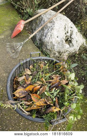 Shovel and rake tools for cleaning a garden