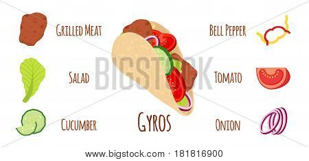 Gyros ingredients, meat, cucumber, tomato, salad, onion, bell pepper and other. Grilled meat, Greece fastfood. Cartoon flat style.