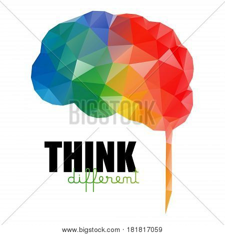 Think different concept. Low poly colorful brain isolated poster