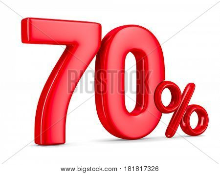 Seventy percent on white background. Isolated 3D illustration