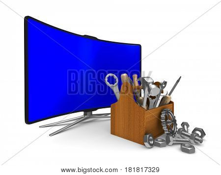 TV on white background. Isolated 3D illustration