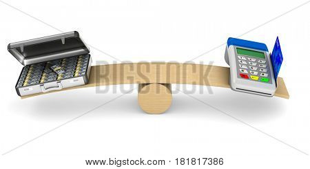 pos terminal and money on scale. Isolated 3D illustration